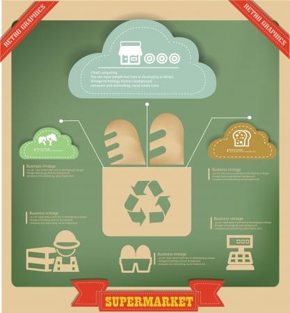 sardine: Food and recycle graphics design on vintage background Illustration