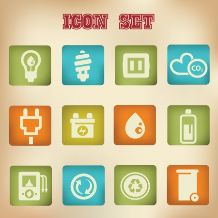 Power   Energy vintage icons Vector