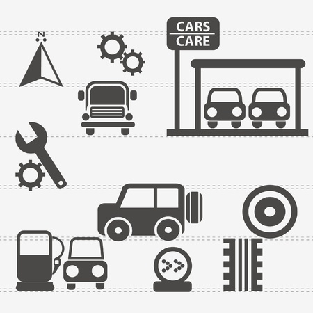 Auto car icons set Vector