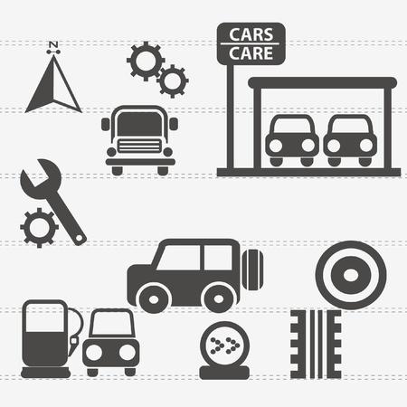 repair road: Auto car icons set Illustration