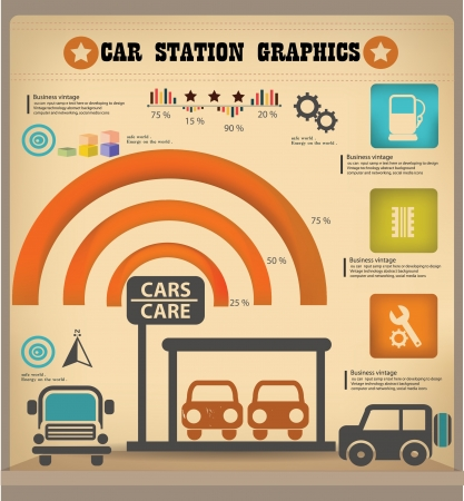 Car station graphics design,vintage Vector