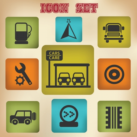 Car station icon set Stock Vector - 19771220