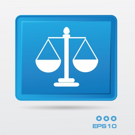 righteousness: Scale of justice button Illustration