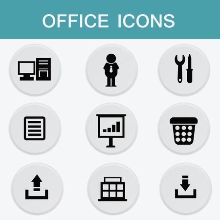 typing machine: Office icon set Illustration