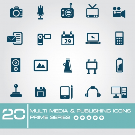 Multi media   Publishing icons,Prime series Stock Vector - 19770745