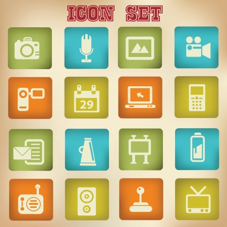 Multi media icon set,vintage style Stock Vector - 19771242