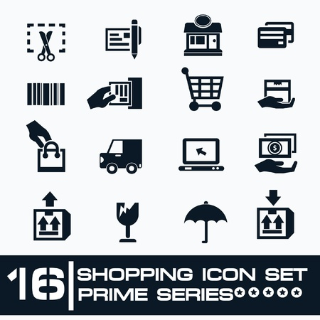 16 Shopping icon set,Prime series Vector