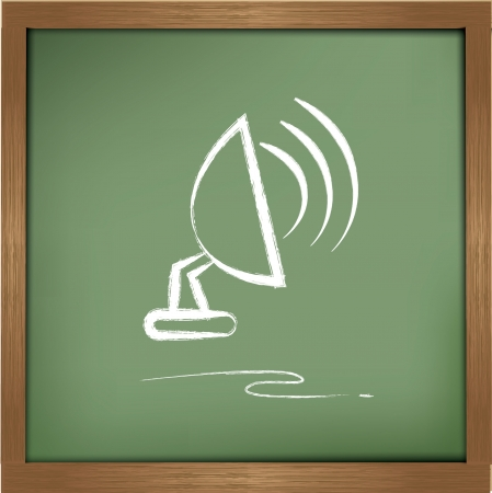 sattelite: Satellite dish drawing on blackboard background