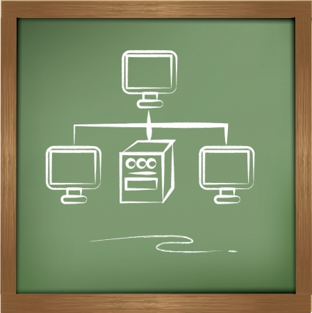 Networking on blackboard background Vector