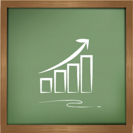 Graph drawing on blackboard background Vector