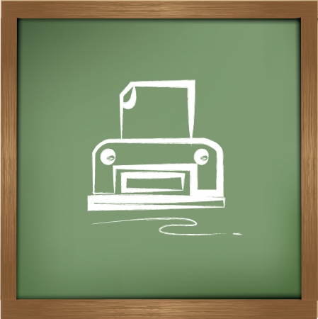 printer drawing: Printer drawing on blackboard background