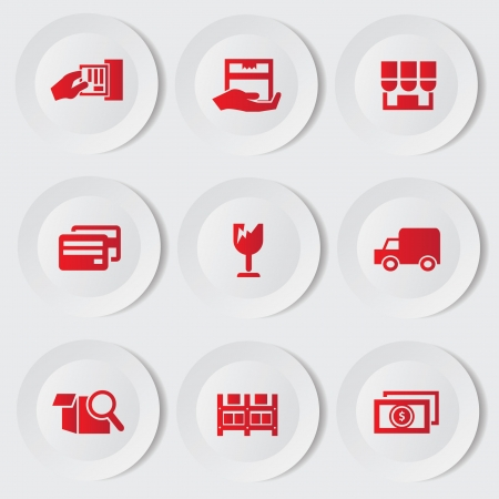 Shipping icon set Stock Vector - 19969564