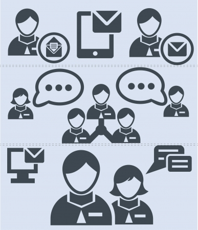 Human resource,communicate ion icons Stock Vector - 19908180