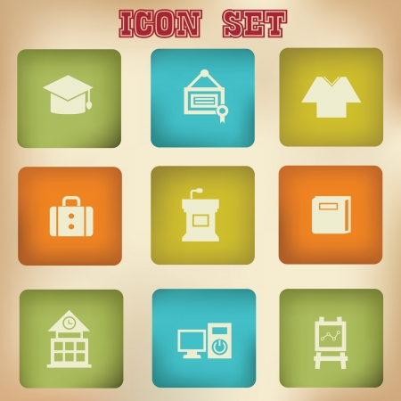 Education vintage icons Vector