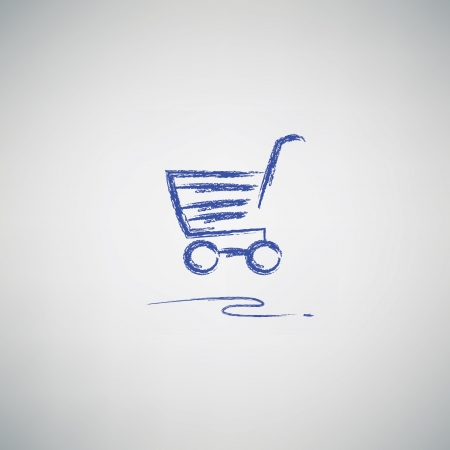 Shopping cart drawing,vector