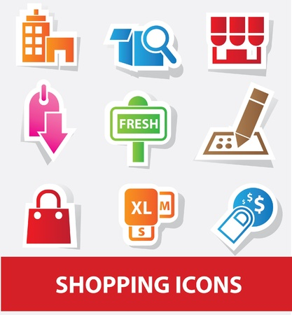 pictogram attention: Shopping icons Illustration