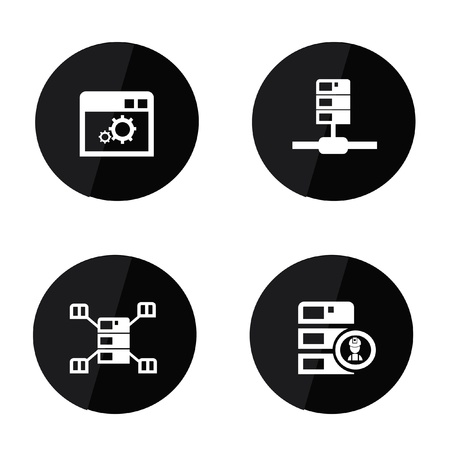 data transfer: Server and database icons Illustration