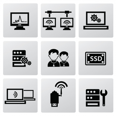 Computer system icons Stock Vector - 19969411