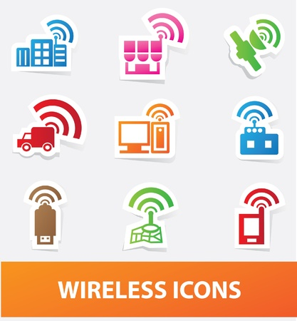 sattelite: Wireless icons,vector