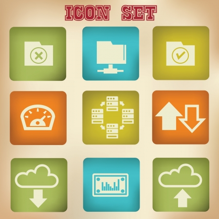 File sharing vintage icons Stock Vector - 19973204