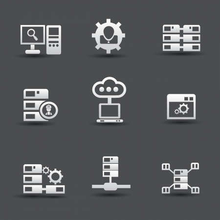 Server computer   database icons Stock Vector - 19973045