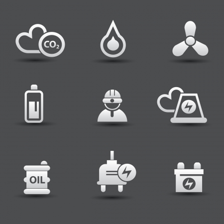 radioisotope: Energy and power icons Illustration