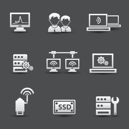 ssd: Server computer and connection system icons