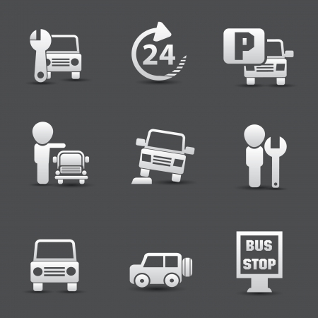 repair shop: Iconos de coches de servicio Vectores