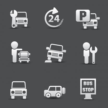 Ikony i samochodów Ilustracje wektorowe