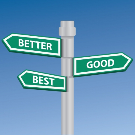 Good best and better signpost Vector