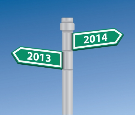 2013 to 2014 signpost Vector