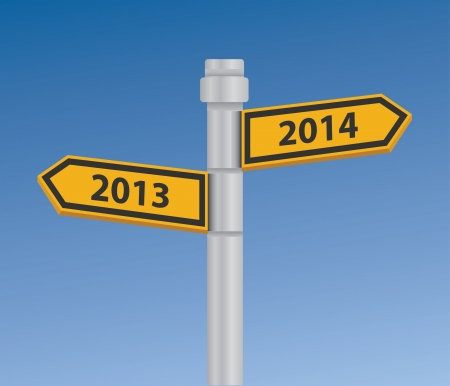2013 to 2014 signpost Stock Vector - 19973070
