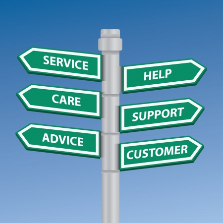 Service help care support advice and customer signpost Vector