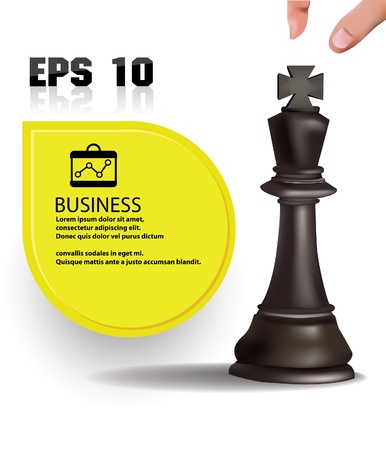 Chess king,business concept and blank banner for text Vector
