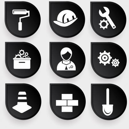 Construction symbol icons Stock Vector - 19973038