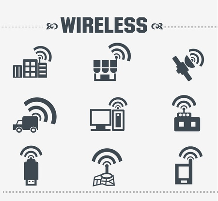 Wireless   communication icon set Stock Vector - 19973068