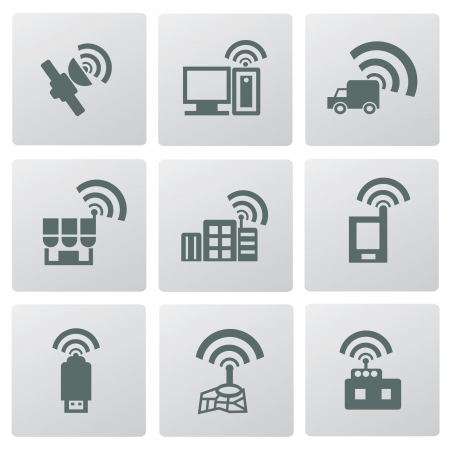 Wireless   communication icon set Stock Vector - 19969188