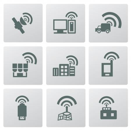 Wireless   communication icon set Stock Vector - 19969188