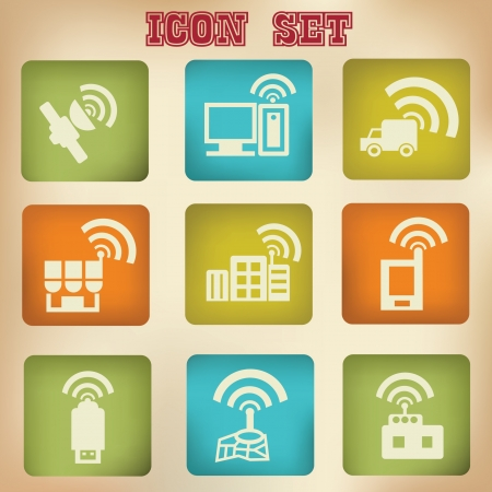 satellite transmitter: Wireless   communication vintage icon set