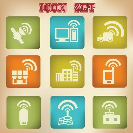 Wireless   communication vintage icon set Stock Vector - 19973249