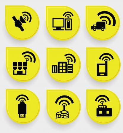 satellite transmitter: Wireless   communication icon set