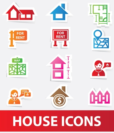 House icons Real estate icons Stock Vector - 20097039