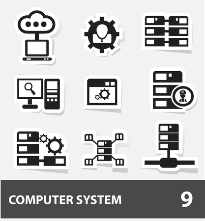 Server computer   database icons Vector