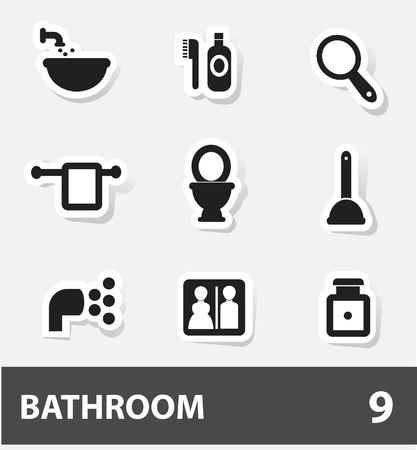 showering: Bathroom icons Illustration