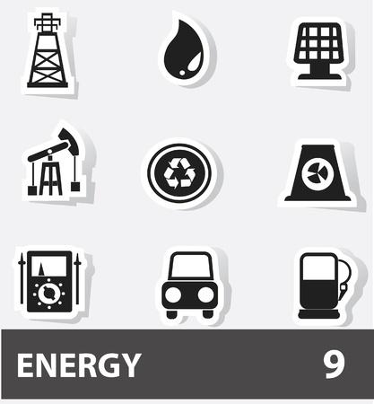 nuke plant: Iconos de la energ�a y el poder Vectores
