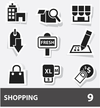cash dispense: Shopping icons Illustration
