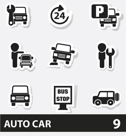 onderhoud auto: Auto service pictogrammen Stock Illustratie