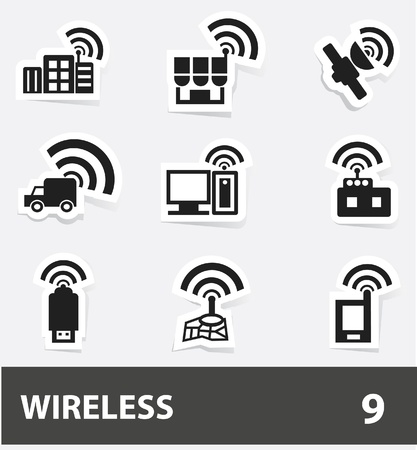 Wireless   communication icon set Stock Vector - 20088019