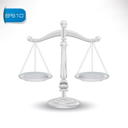 fairness: scales of justice on white background Illustration