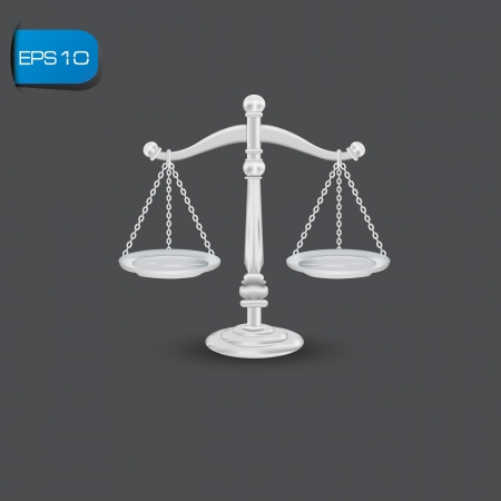 trial balance: scales of justice Illustration
